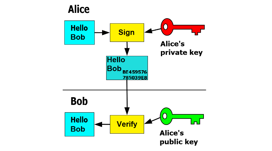 Digital signatures using public-private key pair