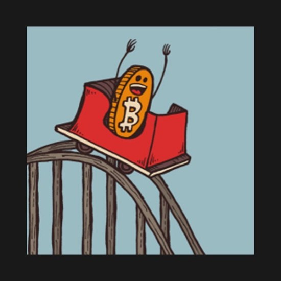 a Bitcoin on a rollercoaster
